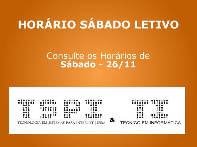 Horário Sábado Letivo (26/11/2016)