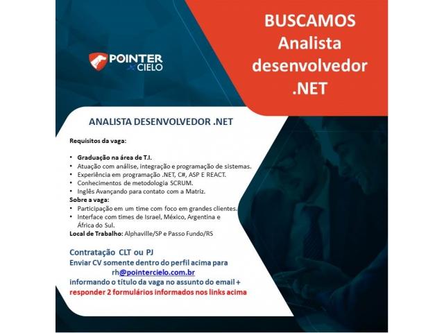 Vaga para Analista Desenvolvedor .NET na Pointer Cielo